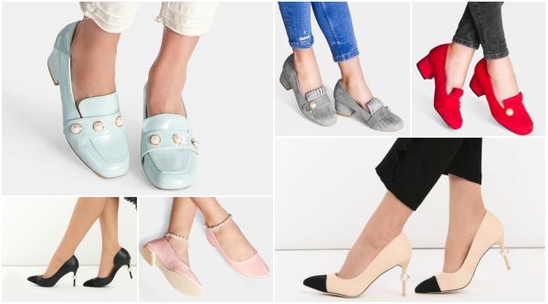 pantofi cu toc si perle