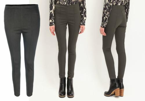 pantaloni skinny tip colenti verde militar