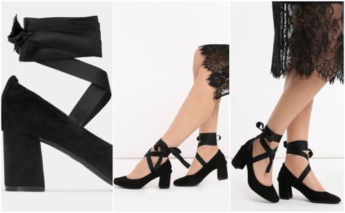 pantofi cu toc mediu gros cu panglici ca de balerini