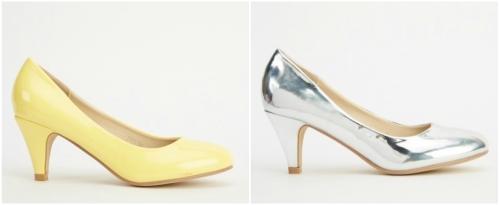 pantofi cu toc mediu in culori metalice argintii