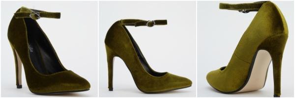 pantofi stiletto din catifea verde military