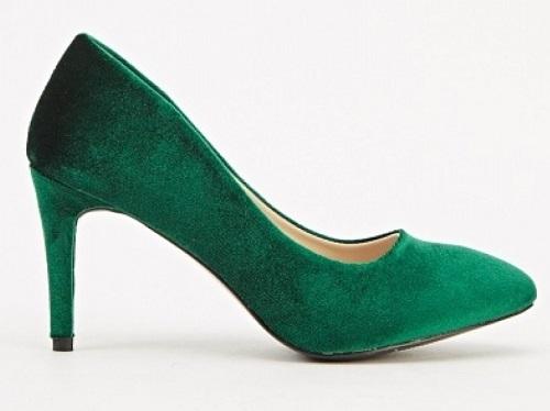 pantofi stiletto verzi din catifea ieftini