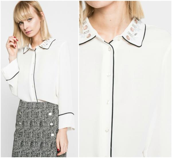 camasa cu guler decorativ cu margele stralucitoare si linie neagra pe margine