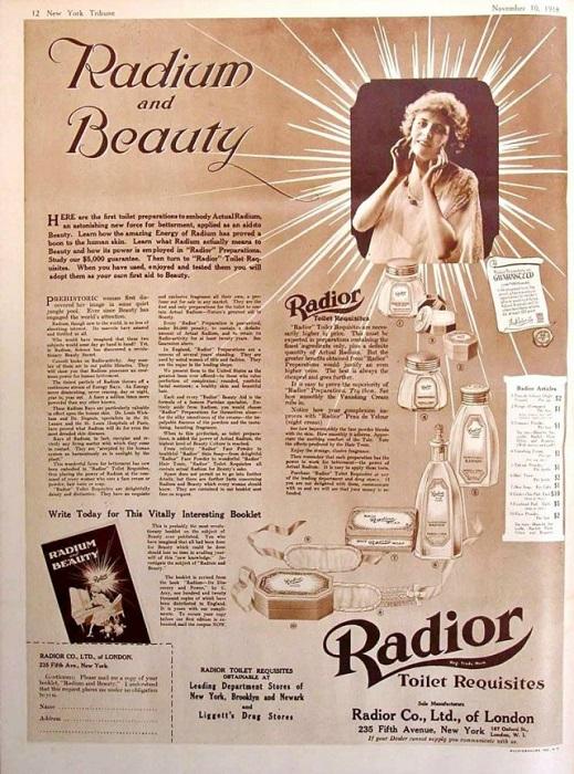 radiu utilizat in proceduri cosmetice in trecut