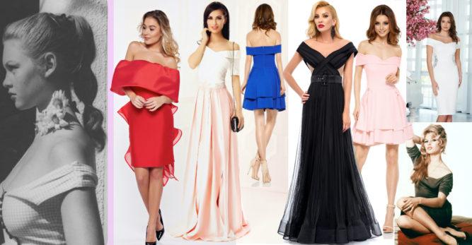 rochii cu umeri goi și decolteu în stil bardot de inspirație retro și vintage