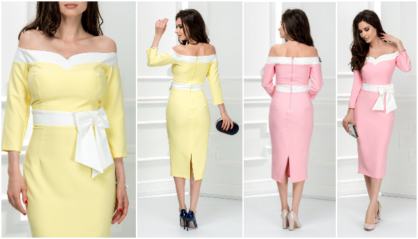 rochii cu umerii goi midi in stil bardot de inspiratie retro