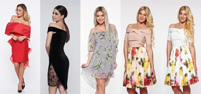 rochii elegante în stil Bardot cu umeri goi