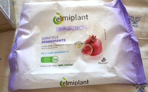 servetele demachiante Elmiplant cu extract de rodie pentru piele terna si deshidratata