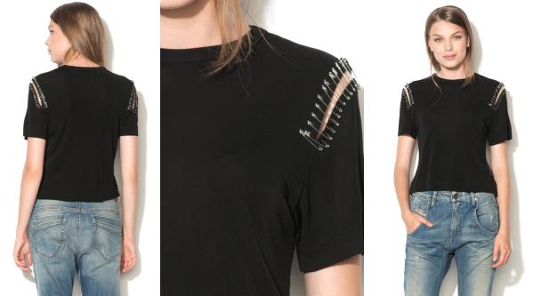 tricou cu ace de siguranță decorative pe mâneci