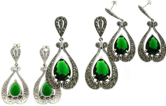 cercei mari tip chandelier din argint 925 in forma de lacrimi cu cristale de zirconiu verde smarald
