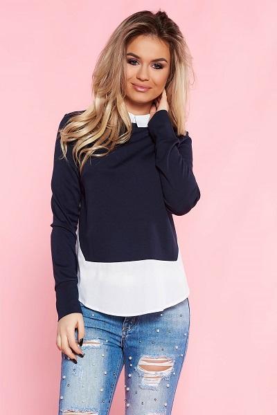 bluză 2 in 1 bleumarin tip 2 piese cu cămașă albă