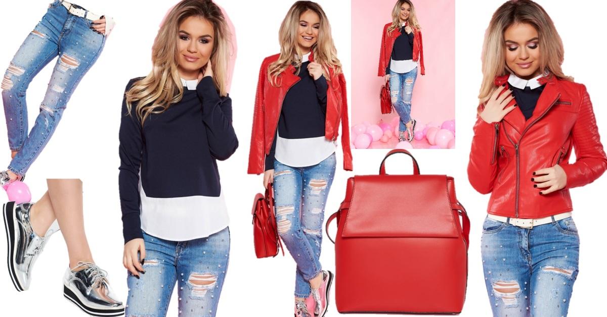 cum să porți o jachetă de piele roșie în ținută casual de primăvară cu jeansi cu rupturi și perle