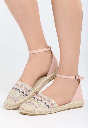 espadrile tip sandale cu curelușă și talpă joasă cu rafie și broderie colorată tip croșetat