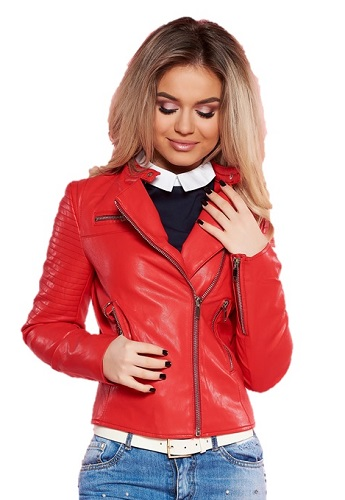 jachetă de piele roșie stil biker