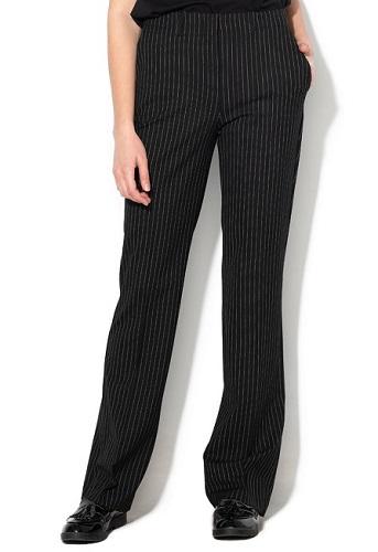 pantaloni negri office evazați cu dungi verticale albe United Colors of Benetton