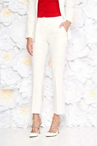 pantaloni office albi la dungă Artista