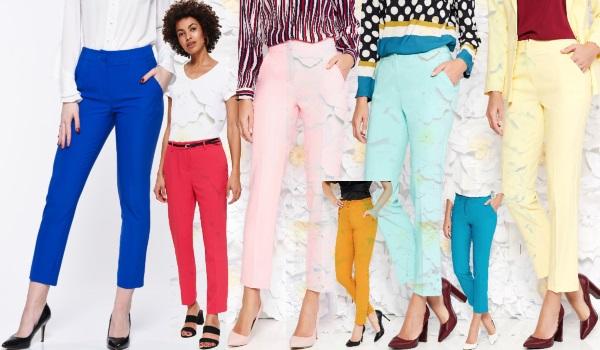 pantaloni office colorați în nuanțe vii sau pasteluri delicate