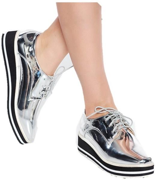 pantofi casual argintii cu șireturi