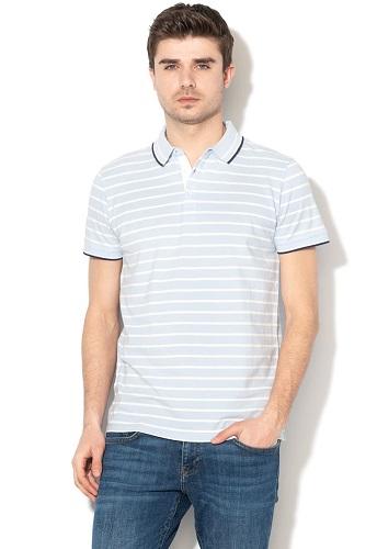tricou polo pentru bărbați cu dungi alb-bleu Big Star