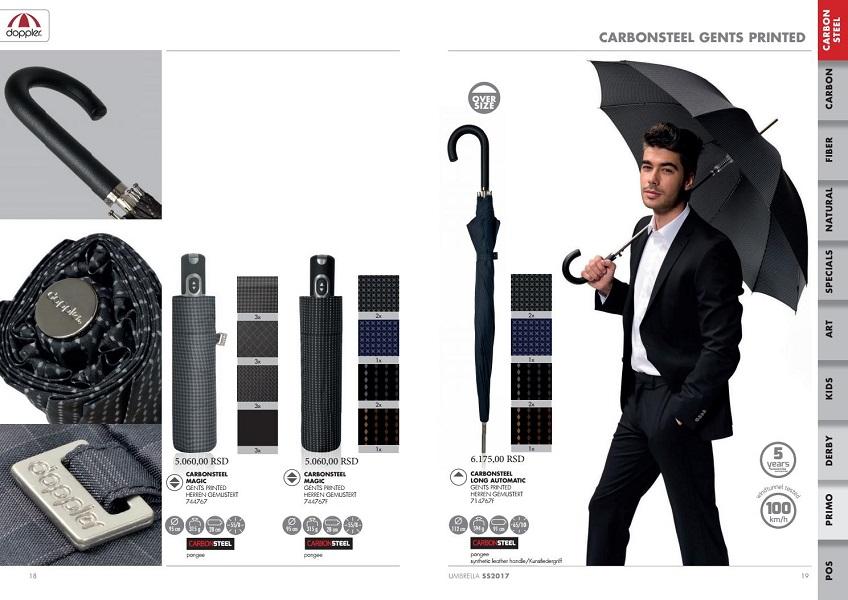 umbrela unisex Doppler Carbon Steel model negru cu romburi gri_cea mai rezistentă umbrelă la vânt ți furtună de pe piață