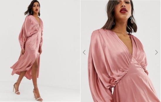 rochie ASOS din satin roz pudrat cu mâneci bufante circulare