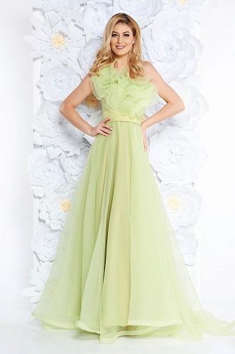 rochie de bal verde pal pentru femeia Balanță