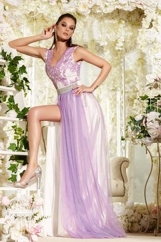 rochie de seară lila pentru bal potrivită zodiei Pești