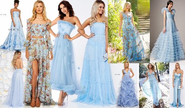 rochii baby blue de seară sau de zi