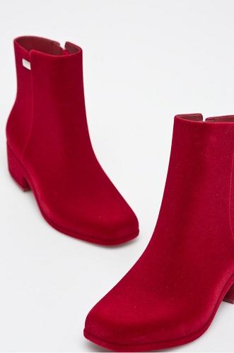 cizme de cauciuc roșii catifelate Zaxy