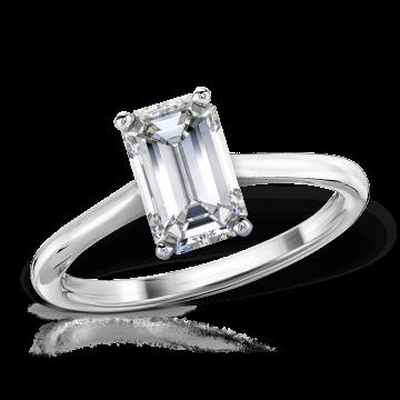 inel de logodnă cu diamant emerald și aur alb