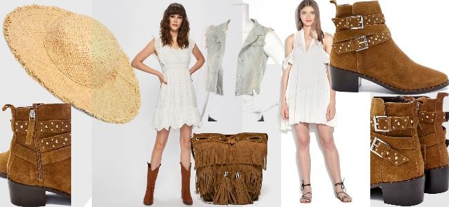 outfit boho chic de vacanță stil cowgirl elegant feminin