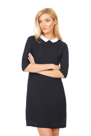 rochie neagră office cu guler lb de cămașă