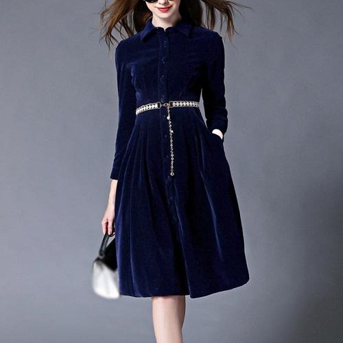 rochie-cămașă midi stil Chambray din catifea
