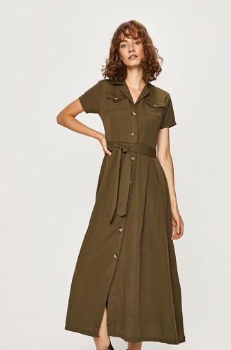 rochie cămașă midi stil chambray cu buzunare pe piept