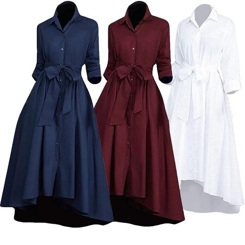 rochie cămașă stil Chambray cu fundă