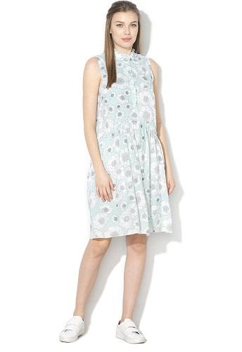 rochie cămașă stil chambray cu model floral
