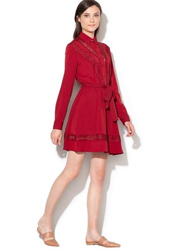 rochie cămașă tip chambray cu inserturi de dantelă Liu Jo