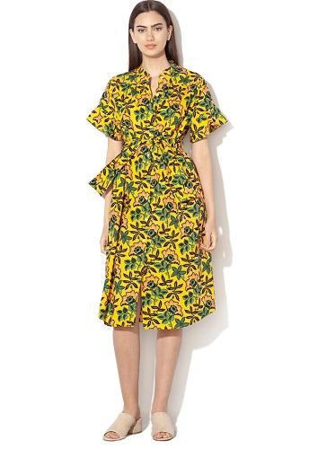 rochie camasa stil chambray cu cordon maison scotch