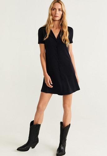 rochie scurtă stil cămașă Chambray A line