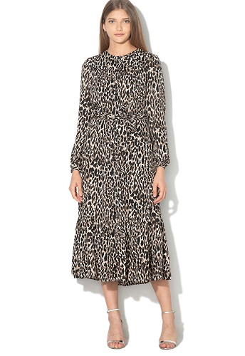 rochie tip camasa chambray cu imprimeu animal print leopard