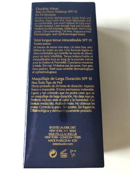 descriere producător ambalaj fond de ten Estee Lauder Double Wear Stay in Place