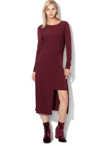 rochie midi cu șliț frontal