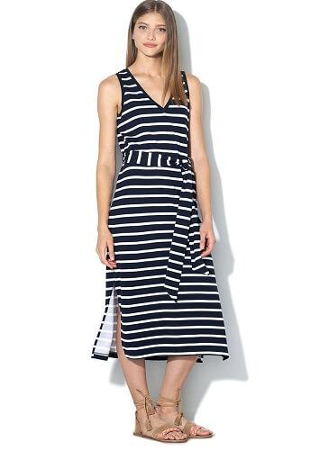 rochie midi cu dungi si cordon in talie cu șlițuri laterale
