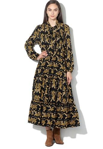 rochie midi elegantă cu imprimeu și terminații evazate