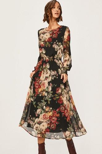 rochie cu imprimeu floral și botine