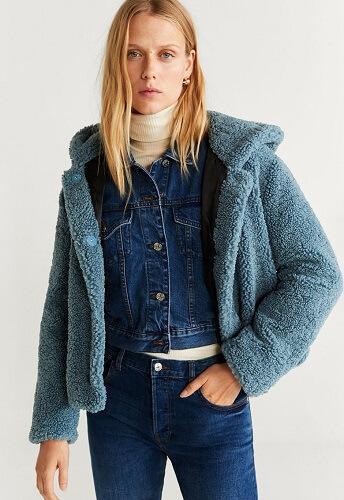 haină de blană tip pluș teddy coat scurtă bleu Mango