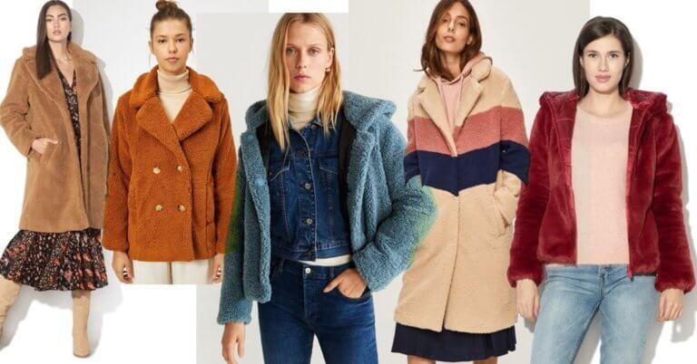 haine și jachete tip teddy coat din blană tip pluș ca de ursuleț
