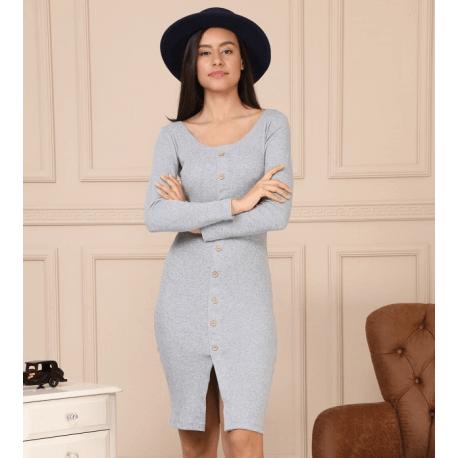 rochie pulover midi cu nasturi