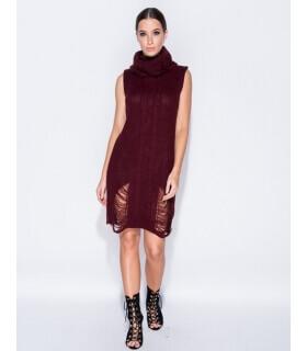 rochie-pulover-visinie-tricotata-cu-guler-inalt-fara-maneci