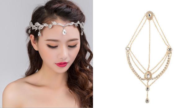 accesorii tip bijuterie de păr cu cristale și stil candelabru